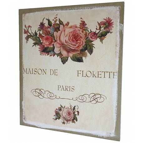 Tableau Mural ou à Poser au Motif Floral Composition de Roses Toile Imprimée sur Cadre en Bois 2x46x56cm