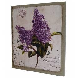 Petit Tableau Cadre Mural ou à Poser Motif Floral et Carte Postale Ancienne Imprimé sur Toile 2x25x30cm