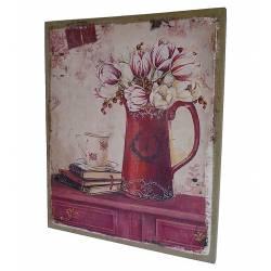 Petit Tableau Cadre Mural à Poser Motif Douceur Pot de Fleurs et Livres Imprimés sur Toile 2x25x30cm