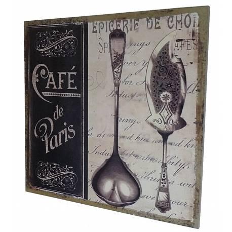 """Petit Tableau Cadre Mural à Poser Motif Inscriptions """"Café de Paris"""" Imprimé sur Toile 2x30x30cm"""