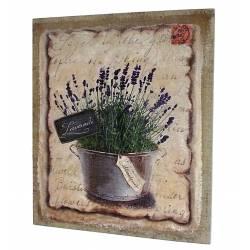 """Tableau Cadre Mural à Poser Motif Provençal """"Bouquet de Lavandes"""" Imprimé sur Toile 2x25x30cm"""