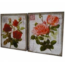 Set de 2 Petits Tableaux Cadres Muraux Motifs Floraux Imprimés sur Toile 2x25x30cm