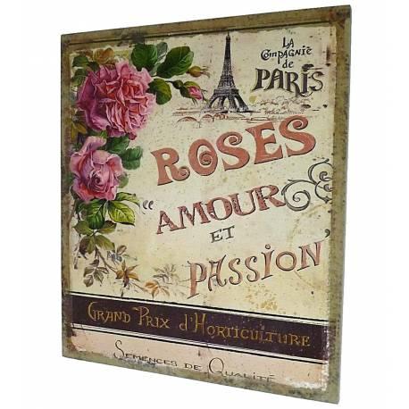 """Grand Tableau ou Cadre Mural à Poser Motifs Floraux """"Rose Amour et Passion"""" Imprimés sur Toile 2x46x56cm"""