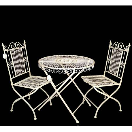 Salon de Jardin 2 Personnes Salon de The Bistrot 1 Table 2 Chaises en Fer Vanille