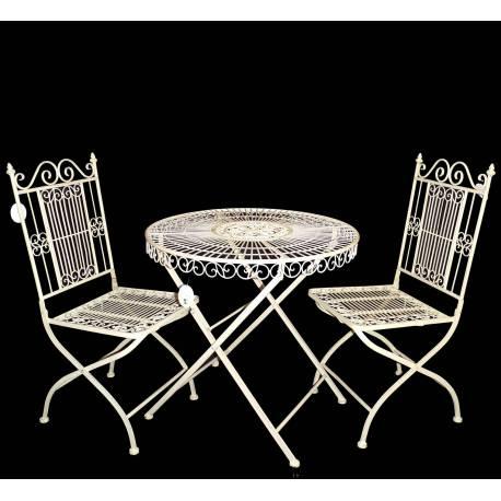 Salon De Jardin 2 Personnes The Bistrot 1 Table Chaises En Fer Vanille