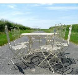 Grand Salon de Jardin 6 Places Pliable 1 Table Ø120cm 6 Chaises en Fer et Fonte Vanille