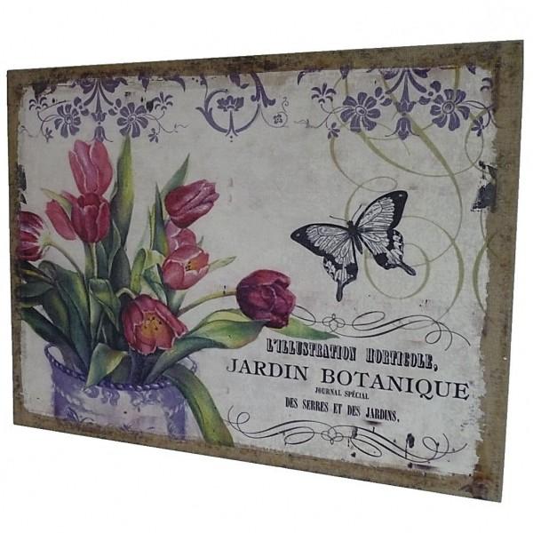 """Tableau Cadre Mural ou à Poser au Motif Floral Tulipe et Papillon """"Jardin Botanique"""" Toile Imprimée sur Cadre en Bois 2x35x45cm"""