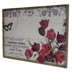"""Tableau Mural ou à Poser au Motif Floral Tulipe et Papillon Toile Imprimée """"Jardin Botanique"""" sur Cadre en Bois 2x35x45cm"""