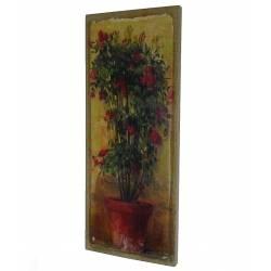 Tableau Mural ou à Poser au Motif Floral Rosier en Pot Toile Imprimée sur Cadre en Bois 2x20x50cm
