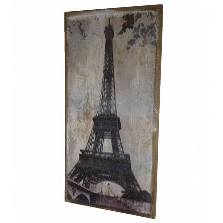 Grand Tableau Mural ou à Poser au Look Vintage Motif Tour Eiffel Toile Imprimée sur Cadre en Bois 2x38x79cm