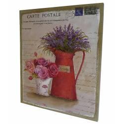 Impression Trompe Oeil sur Toile Tableau ou Cadre Mural à Poser Motif Composition Florale 2x46x56cm