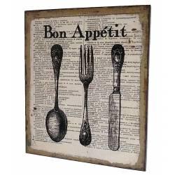 """Petit Tableau ou Cadre Mural Impression sur Toile """"Bon Appétit"""" et Ustensiles de Cuisine 2x25x30cm"""