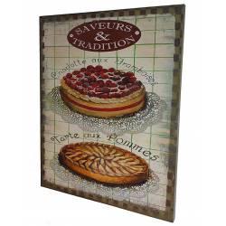 """Petit Tableau ou Cadre Mural à Poser Motifs Décoratifs Pâtisserie Inscriptions 'Saveurs et Traditions"""" 2x25x30cm"""