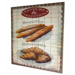 """Grand Tableau ou Cadre Mural à Poser Motifs Décoratifs Viennoiserie Inscriptions 'Baguettes et Croissants"""" 2x46x56cm"""