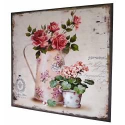 Petit Tableau Mural ou à Poser au Motif Floral Composition de Roses Pichet Arrosoir Toile Imprimée sur Cadre en Bois 2x38x38cm