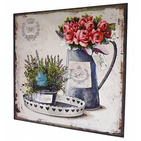 Petit Tableau Mural ou à Poser au Motif Floral Composition de Roses Plateau Arrosoir Toile Imprimée sur Cadre en Bois 2x38x38cm
