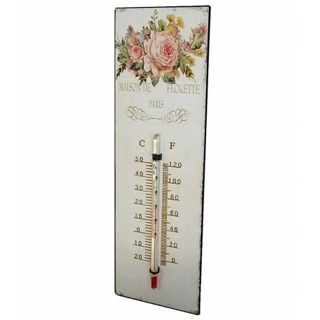 """Thermomètre Mural Décoratif en Celsius et Farenheit ou à Poser Motif """"Floral à l'Ancienne"""" en Fer et Papier Vernis 0,5x8x25cm"""