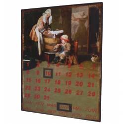 """Plaque Murale Décorative Vintage à Poser Inspiration Rétro """"Calendrier"""" en Fer 0,1x25x33cm"""