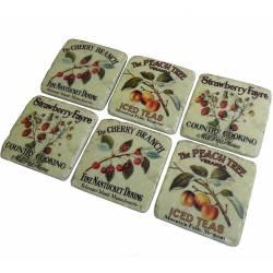 Lot de 6 Dessous de Verre Motifs Fruits Sous Bocks Carrés Décoratifs en Résine Ton Marbre 1x9,5x9,5cm
