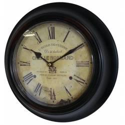 Horloge Murale en Fer avec Vitre en Plexiglass Pendule de Cuisine Chef Le Normand Noir 4x32x32cm