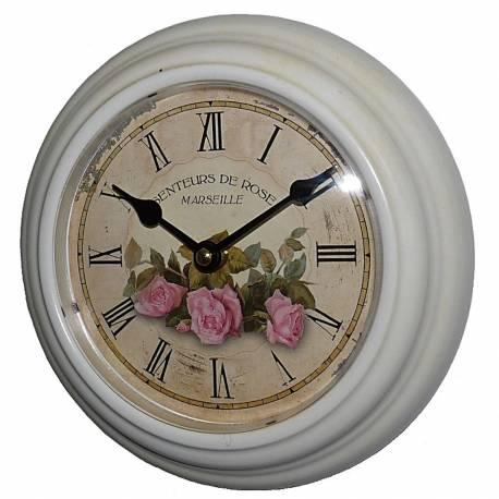 Horloge Murale en Fer Blanc avec Vitre en Plexiglass Pendule de Cuisine Senteurs De Rose Marseille 4x21x21cm