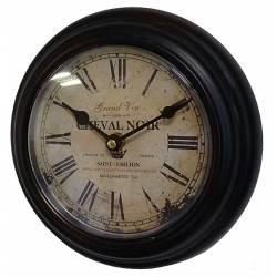 Horloge Murale en Fer Noir avec Vitre en Plexiglass Pendule de Cuisine Cheval Noir Saint Emilion 4x21x21cm