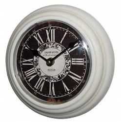 Horloge Murale en Fer Blanc avec Vitre en Plexiglass Pendule de Cuisine Grand Hotel 4x21x21cm