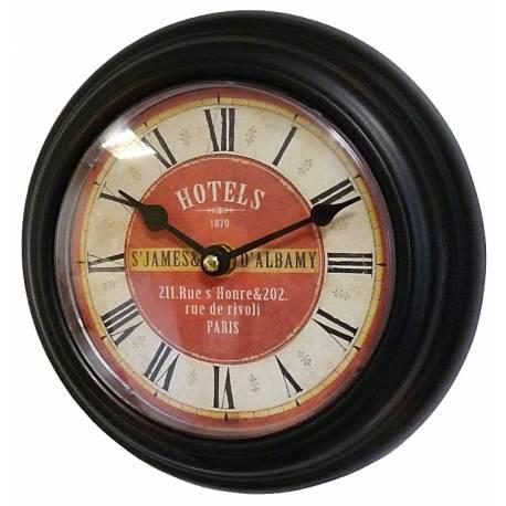 Horloge Murale en Fer Noir avec Vitre en Plexiglass Pendule de Cuisine Hotel St James 4x21x21cm