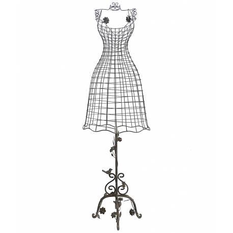 Grand Buste de Couture Mannequin Porte Bijoux ou Robe de Mariée sur Pied en Fer Patiné Gris 34x68x152cm