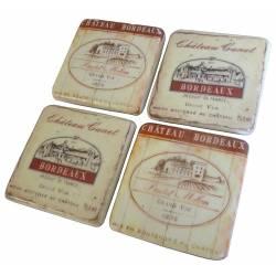 Lot de 4 Dessous de Verre Motifs Bouteilles de Vins Sous Bocks Carrés Décoratifs en Résine Ton Marbre 1x9,5x9,5cm