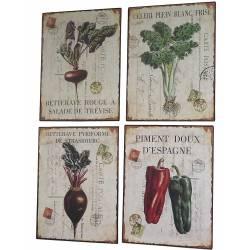 Set de 4 Plaques Murales à Poser Décoration Rétro Style Déco Publicitaire Motif Légumes en Fer 0,1x26,5x35cm