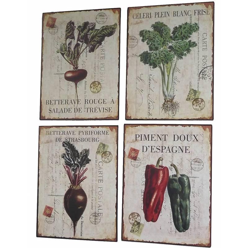 Set de 4 plaques murales poser d coration r tro style d co publicitaire mot - Plaques decoratives murales ...