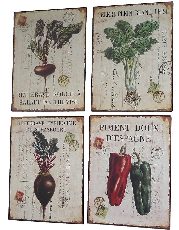 4 plaques déco légumes en métal   l'héritier du temps
