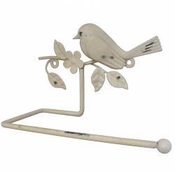 Support Papier Hygiénique Mural ou Porte Papier Toilettes Motif Oiseaux et Feuilles à Fixer en Fer Patiné Crème 10x12,5x19,5cm1