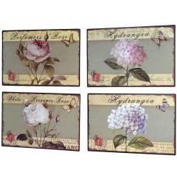 Set de 4 Plaques Murales à Poser Décoration Rétro Style Déco Publicitaire Motif Floraux en Fer 0,1x19x27,5cm