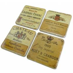 Lot de 4 Dessous de Verre Motifs Etiquettes de Vins Sous Bocks Carrés Décoratifs en Résine Ton Marbre 1x9,5x9,5cm