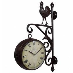 Horloge de Gare sur Crédence Pendule Murale Double Face Motif Coq en Fer Marron 36x61cm