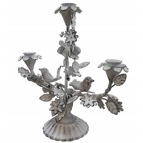 Chandelier de Table 3 Bougies à Poser ou Candélabre Décoratif Motif Fleurs et Feuilles 3 Feux en Fer Patiné Blanc 11x28x29cm