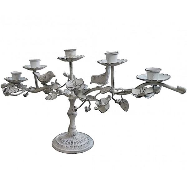 Chandelier de Table 5 Bougies à Poser ou Candélabre Décoratif Motif Fleurs et Feuilles 5 Feux en Fer Patiné Blanc 10x23x46,5cm