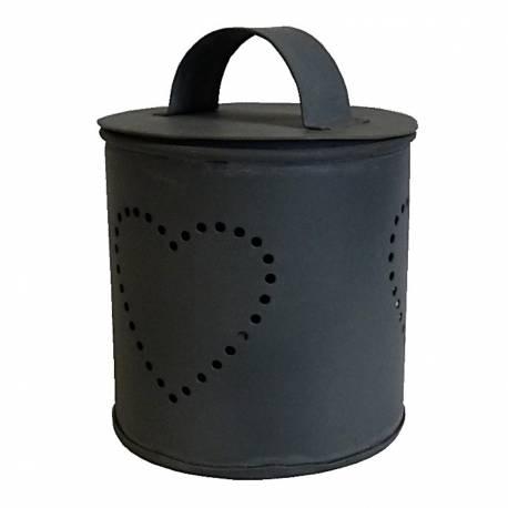 Boite Photophore 1 Feu Motif Coeur ou Pot Bougeoir Décoratif en Fer Patiné Gris 8x8x10cm