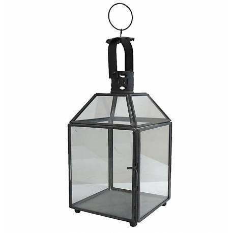 Lanterne Carrée à Poser ou Lampe Tempête 8 Vitres Style Industriel à Suspendre en Fer et Verre Patiné Noir 12x12x27,5cm