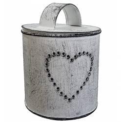 Boite Photophore 1 Feu Motif Coeur ou Pot Bougeoir Décoratif en Fer Patiné Blanc 8x8x10cm