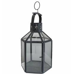 Lanterne Hexagonale à Poser ou Lampe Tempête 12 Vitres Style Industriel en Fer et Verre Patiné Gris 14x14x30cm