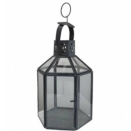 lanterne hexagonale poser ou lampe temp te 12 vitres style industriel en fer et verre patin. Black Bedroom Furniture Sets. Home Design Ideas
