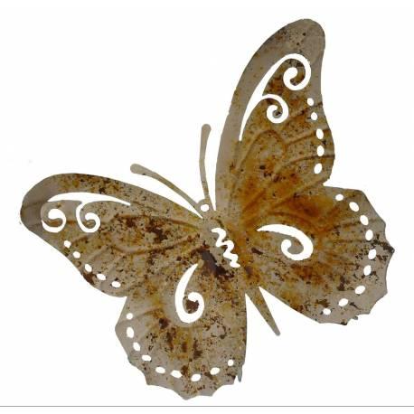 Papillon Décoratif à Poser ou Décoration Murale à Fixer en Fer Patiné Multicolore 6,5x26x36,5cm