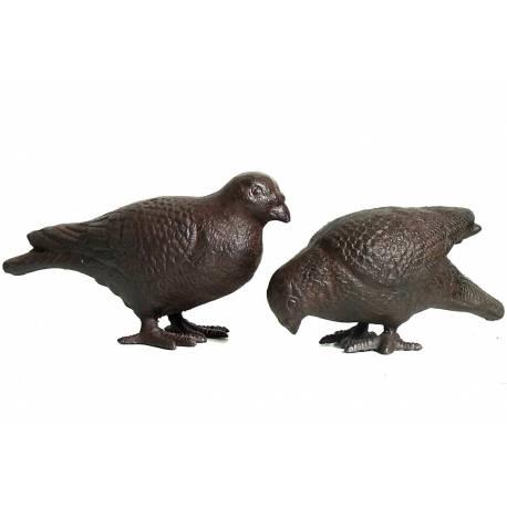 Couple de 2 Pigeons Presse Papiers à Poser en Fonte Patinée Marron 9x13x25cm