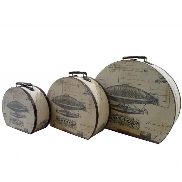 Set de 3 Malles Coffre Boite Rangement Bagage Valise Voyage Poignée Cuir Tapissé Bois Et Tissu