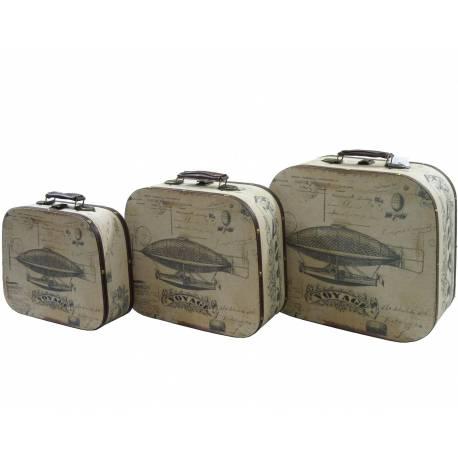 Set de 3 Valises Malles Bagages Coffre Boite Rangement Poignée Cuir Tapissé En Bois Et Tissu