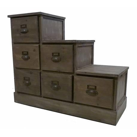 meuble chaussures en escalier semainier en bois 6 tiroirs chiffonnier de rangement. Black Bedroom Furniture Sets. Home Design Ideas