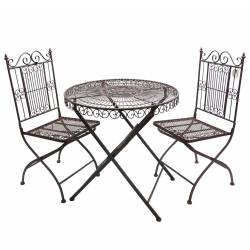 Salon de Jardin 2 Personnes Salon de The Bistrot 1 Table 2 Chaises en Fer Marron
